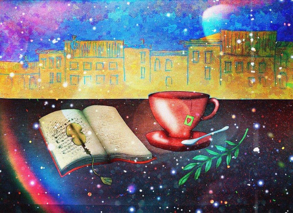 Immagine con un libro di poesia e tanta fantasia